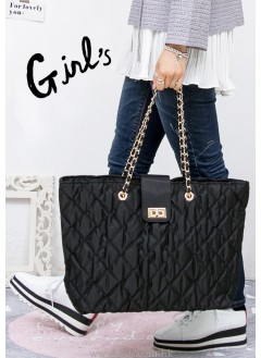 1718-1033-推介款- - classic style - 尼龍 X 菱格 pattern ,小金扣 shoulders bag
