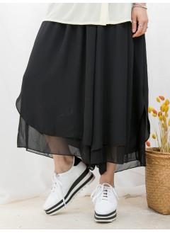 1816-1077 - 超強烈推介 -DOUBLE LAYER X 橡根腰 , 雪紡料闊褲 (韓國)