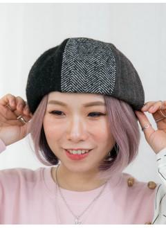 1819-1040-強烈推介- 格仔 X V PATTERN X 淨色 , 絨絨料貝蕾帽 (韓國)0