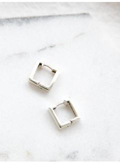 181-1033 - 簡約・簡潔 -方形 X 純銀 , 耳環 (韓國)