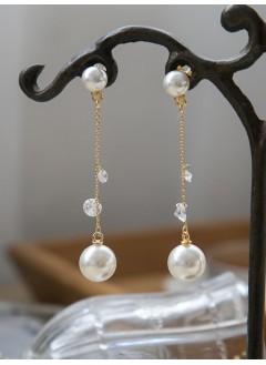 181-1029 - 推介款 -大細珍珠 水晶 , 墜擺, 純銀針耳環 (韓國)
