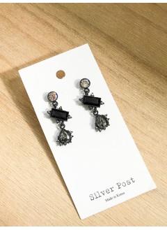 191-1005- 黑色・華麗 - 黑色復古耳環 (韓國)