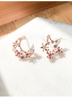 191-1006- 彩色・月星 - 玫瑰色 配彩色鋯石 月亮 星星 耳環(韓國)