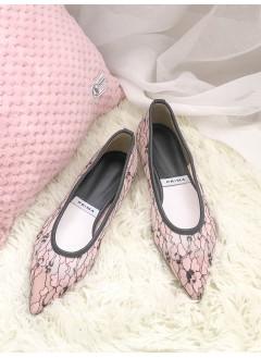 1917-1002 - sweety・pink -花花PATTERN通花LACE X 網布 , 尖頭鞋 (韓國)