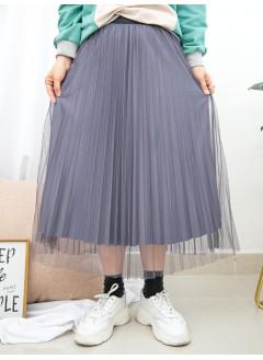 1915-1019-強烈推介- 百摺網布 X 百摺絲絨料 , 橡根腰 X 雙面半截裙 (韓國)