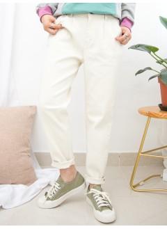 1915-1023A- 輕鬆・男友褲 - 兩側袋 X 後腰橡根 ,  扯布料直腳褲 (韓國)