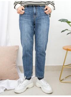 1915-1022- MAcy's style - 爛爛 X 後腰橡根 , 直腳牛仔褲 (韓國)