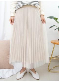 1915-1019A- 強烈推介 - 百摺網布 X 百摺絲絨料 , 橡根腰 X 雙面半截裙 (韓國)