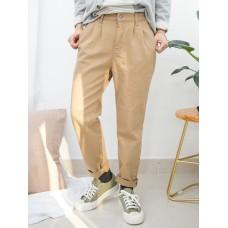 1915-1023-輕鬆・男友褲- 兩側袋 X 後腰橡根 , 扯布料直腳褲 (韓國)