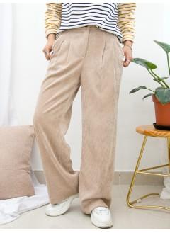 1915-1024-舒適・褲子- 兩側袋 X 後腰橡根 X 前腰扣鈕 , 打摺 , 坑紋燈芯絨料闊褲 (韓國)