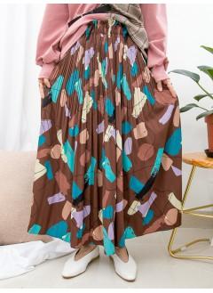 1915-1026-藝術・氣質- 拼色不規則PATTERN X 百摺 , 橡根腰滑滑料半截裙 (有厘布) (韓國)0