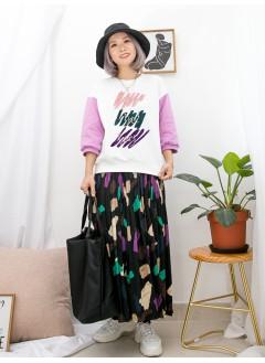 1911-1551A - Have colorful day -拼色絲絨料PRINT X 燙金英文字 , 拼色衛衣料TOP (韓國)0