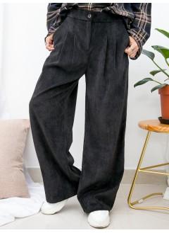 1915-1024a- 舒適・褲子 - 兩側袋 X 後腰橡根 X 前腰扣鈕 , 打摺 , 坑紋燈芯絨料闊褲 (韓國)