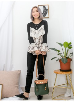 1911-1565-lace與格子- 胸位 , 袖口通花LACE , 網布 X RUFFLE邊 , 袖口 , 前幅格仔PATTERN滑滑料 X 淨色COTTON料 , 娃娃形TOP (韓國)