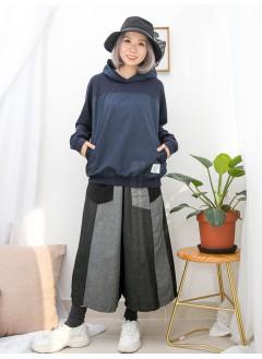 1911-1494a- 簡約・藍調 -前兩側袋 X 前幅恤衫料 X  淨色COTTON料 , 有帽TOP(韓國)