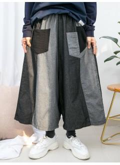 1915-1016- 日系・拼布 - 前袋位通通布料 X 橡根腰 , 拼色薄牛仔料闊褲 (韓國)