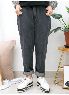 1915-1021- 灰黑・型格 - 腳位SOSO邊 X 後腰橡根 , 牛仔料直腳褲 (韓國)