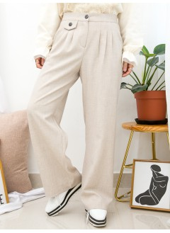 1915-1025 - 獨特・闊褲 -前腰打摺 X 兩側袋 , 軟身扯布料闊褲 (韓國)
