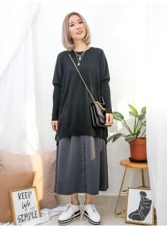 1911-1534-隨意的獨特美- 前兩袋 X 手袖,下擺坑紋線仔料 , 蝙蝠袖 X 淨色厚線仔料TOP (韓國)0
