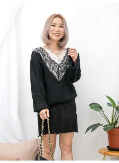 1911-1545 -sexy・lace-領位DOUBLE LAYER波浪邊 X 拼色通花LACE , V領 X 冷料TOP (韓國)0