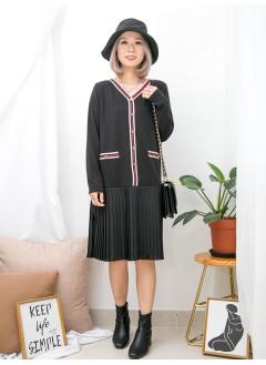 1916-1339 - 斯文復古裙子 -領邊 , 假袋位邊拼色羅紋料 X 釘鈕 , 下擺百摺恤衫料 X 雙面料OPS (韓國)0