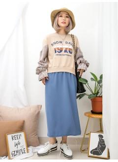 1916-1350A- 獨特・日系裙 - 下擺兩旁開叉 X 英文字PRINT , 袖口橡根 X 手袖格仔恤衫料 , 下擺滑滑料 X 拼色衛衣料OPS (韓國)0