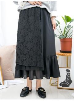 1915-1031- 200分 -下擺RUFFLE邊 X 通花LACE X 百摺 , 橡根腰 X 雪紡料半截裙 (有厘布) (韓國)-
