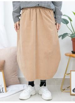 1915-1028 -- 日系・泡泡子 --下擺兩旁打摺 X 兩側袋 , 橡根腰 X 燈芯絨料半截裙 (韓國)0