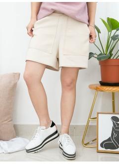 1915-1029A 兩側袋 X 側邊拉鏈 , 後腰橡根 X 麂皮料短褲 (韓國)0