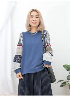 1911-1591- 低調・復古 - 手袖層層不同PATTERN拼布 X 絲絨帶 , 衛衣料TOP (韓國)0