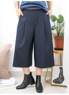 1915-1033- 條子・氣質 - 兩側袋 X 後腰橡根 X 前腰拼色羅紋料 , 直紋滑滑扯布料闊褲 (韓國)0