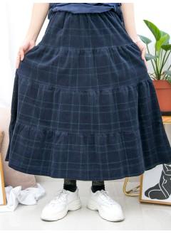 1915-1037-驚喜・裙子- 格仔PATTERN X 層層打摺 , 橡根腰 X 燈芯絨料半截裙 (韓國)-