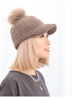 1919-1036A - 可愛・CAP帽 -毛毛球 X 冷料CAP帽 (韓國)-
