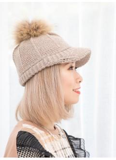 1919-1036-可愛・cap帽- 毛毛球 X 冷料CAP帽 (韓國)-