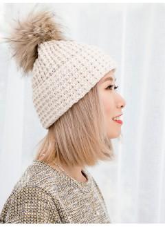 1919-1035-可愛・冬日- 毛毛球 X 坑紋 , 冷料帽 (韓國)-