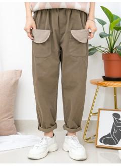 1915-1038A - 型格・袋子 -前兩袋 X 橡根腰 , 少低浪 X 扯布料直腳褲 (韓國)
