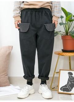 1915-1038 -型格・袋子 -前兩袋 X 橡根腰 , 少低浪 X 扯布料直腳褲 (韓國)0