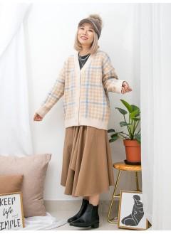 1913-1034- Happy color - 全開胸扣鈕 X 格仔PATTERN , V領 X 冷料外套 (韓國)
