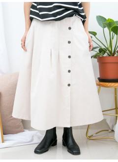 1915-1034-百搭・裙子- 側邊全開胸扣鈕 X 後腰橡根 , 燈芯絨料半截裙 (韓國)