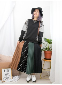 1911-1629 -型格・格子-前幅兩旁車金線 X 格仔薄絨料 , 手袖拼色 X 薄衛衣料TOP (韓國)0