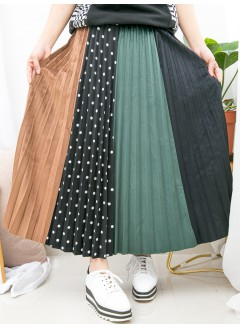 1915-1040- 零死角 - 點點PATTERN , 淨色扯布料 X 拼色燈芯絨料 , 橡根腰半截裙 (韓國)