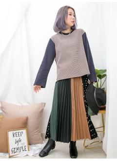 1911-1620 - 低調・唯美 -後幅下擺百摺雪紡料 X 手袖淨色 , 格仔PATTERN雙面料TOP (韓國)0