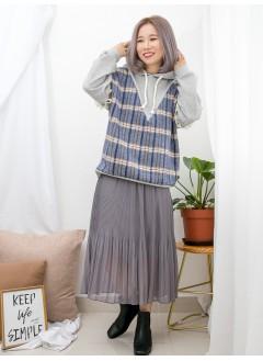 1911-1660 - 輕鬆・悠閒 -手袖位冷料RUFFLE邊 X 前幅格仔PATTERN薄絨料 X 淨色雙面料 , 有帽TOP (韓國)