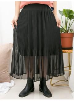 1916-1376 -超強・打底-下擺百摺雪紡料 X COTTON料 , 吊帶底裙 (下半身有厘布) (韓國)-