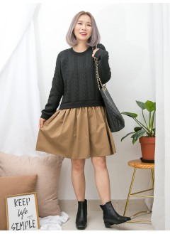 1916-1364 - 麻花・裙子 -下擺淨色恤衫料 X 拼色麻花PATTERN冷料OPS (韓國)0