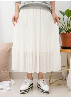 1916-1376A-超強・打底- 下擺百摺雪紡料 X COTTON料 , 吊帶底裙 (下半身有厘布) (韓國)