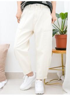 1915-1042-男友褲- 兩側袋 X 後腰橡根 , 腳位打摺 X 內薄抓毛 , 扯布料 X 少低浪boy friend褲 (韓國)