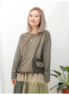 1911-1643A - 日系迷・必入 -前兩袋 X 袋位細格仔恤衫料 , 前幅薄夾棉 X 薄衛衣料TOP (韓國)0