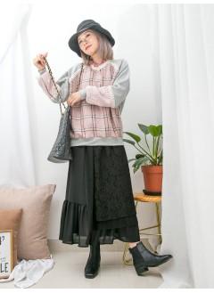 1911-1646A- 蕾絲・格仔 - 手袖 , 夾位通花LACE X 領位拼色卷卷邊 , 前幅格仔薄絨料 X 淨色COTTON料TOP (韓國)