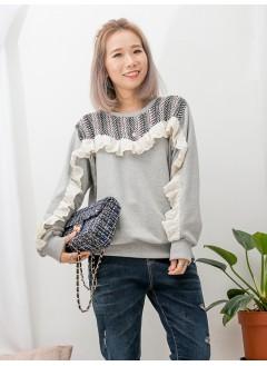 1911-1648 -滿滿的ruffles-胸位 , 手袖通花刺繡恤衫料 X RUFFLE邊 , 領位斜紋薄絨料 X 淨色薄衛衣料TOP (韓國)0